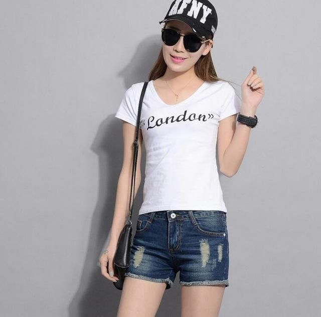 2016 summer Frosted hole denim shorts women short jeansWomen Wash Jeans Lady Short Pants Trousers