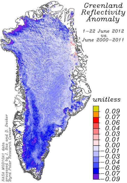 In an indication that 2012 may be a record melt year for Greenland's ice sheet, data shows the reflectivity of the ice sheet is near a record low.