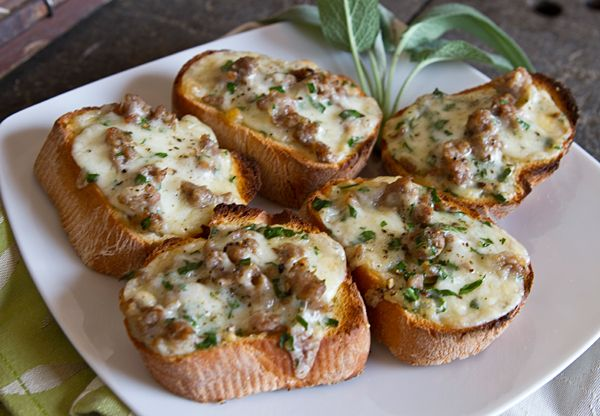 Bruschetta With Melted Cheese, Sausage & Sage