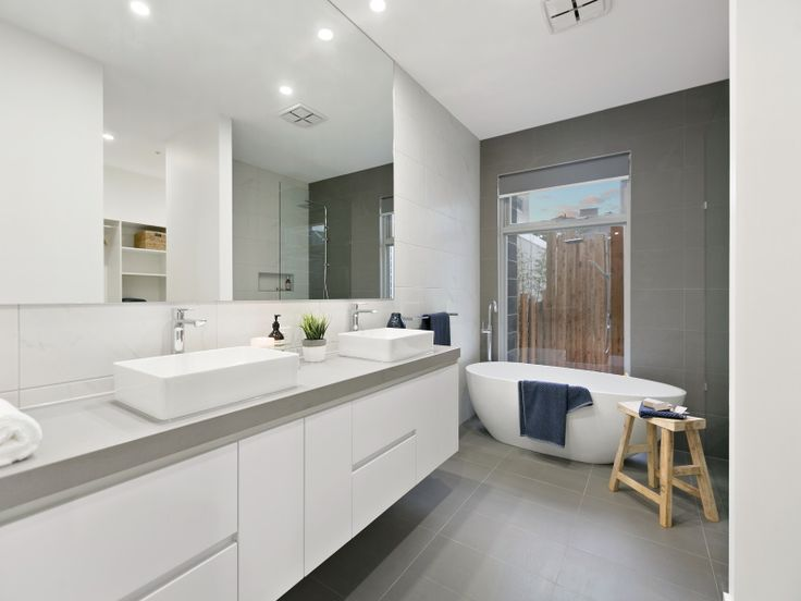Grey bathroom- concrete benchtop