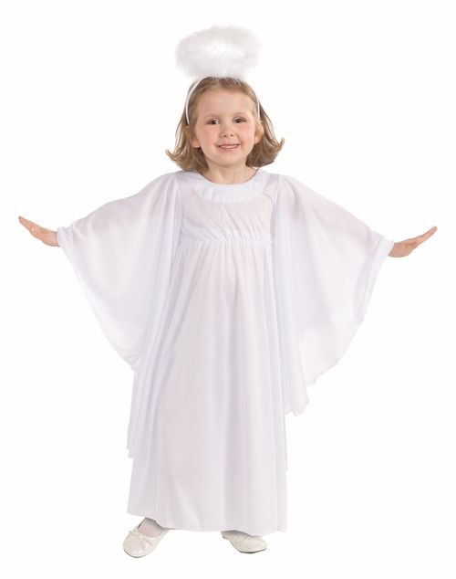Toddler Angel Costume - This is an adorable little Angel costume. Nothing is more fitting for your heavenly little child. The opaque white dress is long and has a high waist. The sleeves are extra wide and have a wing like look when held out. A headband with a white feathered halo is also included. This costume is great for Christmas Nativity Plays and Halloween. #yyc #calgary #costume #angel #nativity #christmas