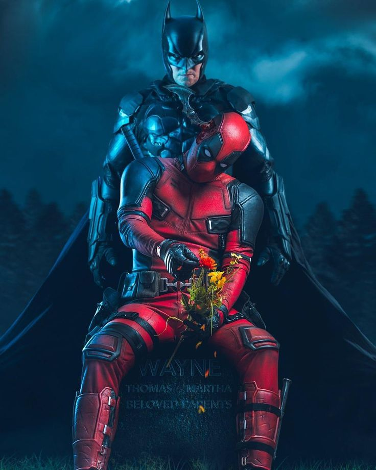 Characters: Batman (Bruce Wayne) & Deadpool (Wade Wilson) / From: Warner Bros. Interactive Entertainment's 'Batman: Arkham Origins' Video Game & 20th Century Fox's 'Deadpool' Film / Cosplayer: Mark RoBards (aka Mark Knight Rises) as Batman & Deadpool / Photo: David Love Photography (truefd) (2017)
