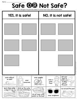 Summer Water Safety Sort - First Grade & Kindergarten. $