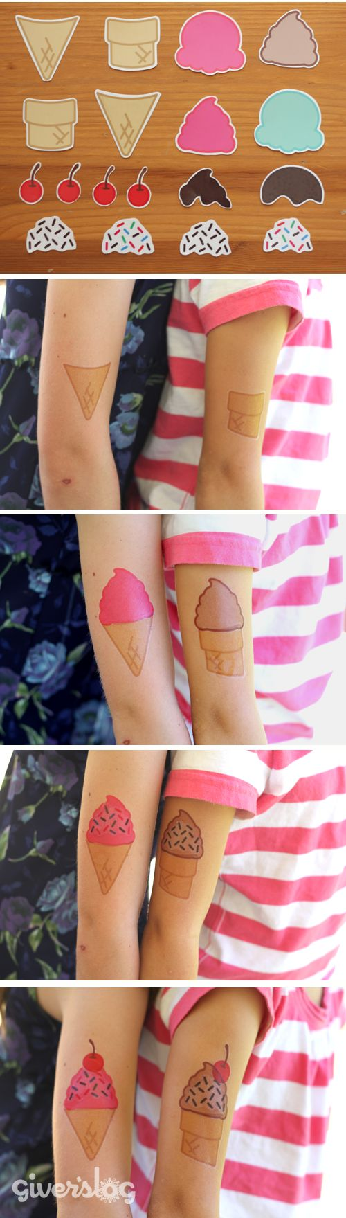 Make Your Own Ice Cream Tattoos...awesome