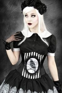 Gothic Satin Unterbrust Korsett - Black Raven Stripes