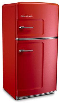 Retro Fridge, Cherry Red, Without Ice Maker - midcentury - Refrigerators - Big Chill