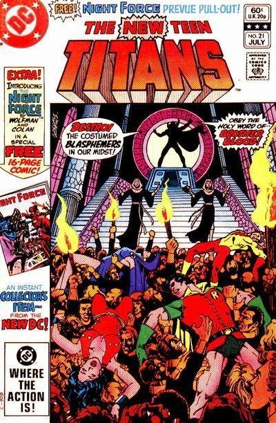 THE NEW TEEN TITANS 21. 1ST APPEARANCE OF BROTHER BLOOD. DC COMICS