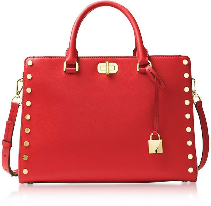 d89dde0acb8f Michael Kors Sylvie Stud Large Bright Red Leather Satchel Bag This SCREAMS  Holidays. I m Shook  fashion  style  shopping  affiliate  michaelkors