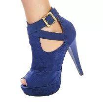 Sapatos De Festa Bota Ankle Boot Meia Pata Conforto Salto
