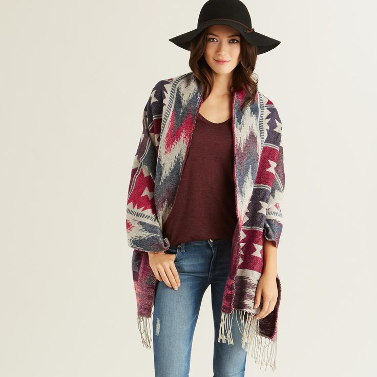 With a blue and red southwestern print and fringe ends, our ultra-soft blanket scarf is a cozy accessory to wrap up in during cold weather.