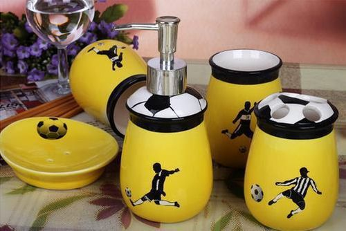 Exceptional Football Soccer Ceramic Bathroom Set Original Home Decor