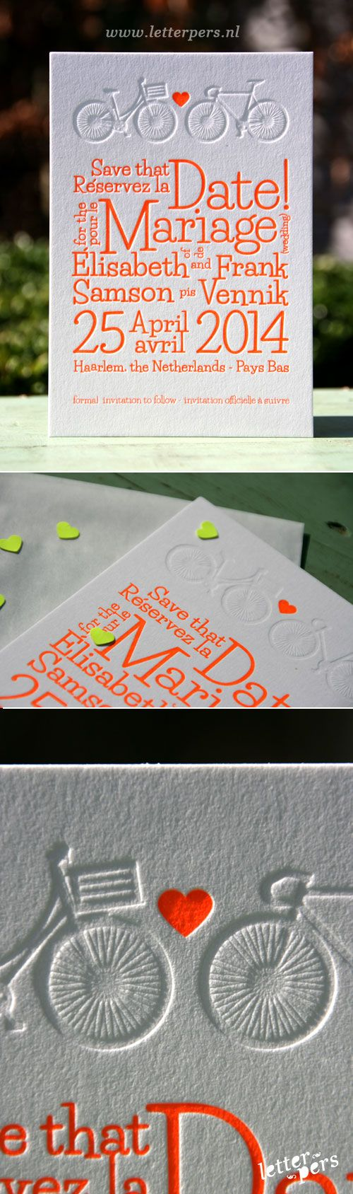 format of indian wedding invitation in english%0A Orange     with blind deboss bikes for this wedding invite from letterpres