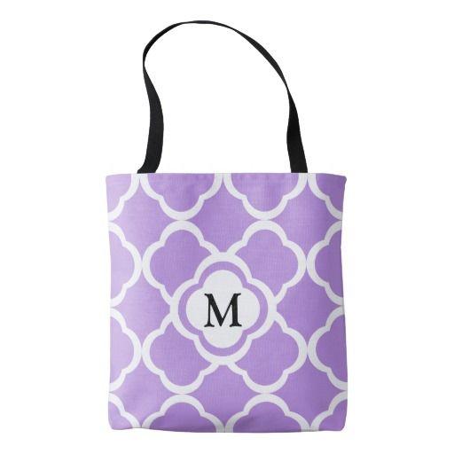 Monogram On A Bright Purple Quatrefoil Pattern Shoppinge Tote Bag