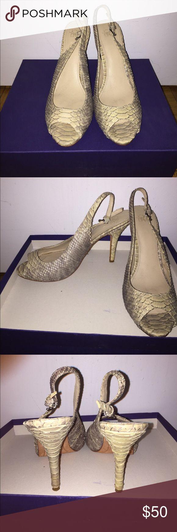 Joan & David faux snake skin peep toe sling backs Lightly worn Joan & David faux snake skin sling backs Joan & David Shoes Heels