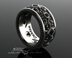 Banda de eternidad para hombre diamante negro. Banda ancha