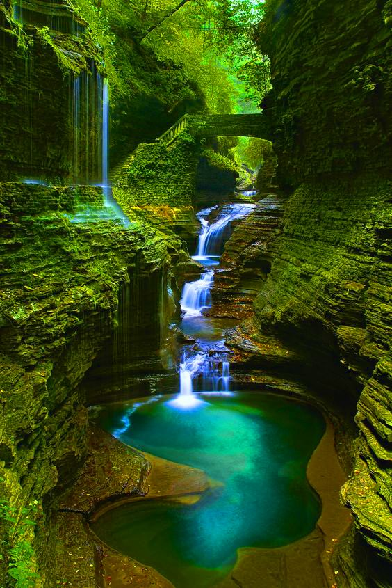 Rainbow Bridge and Falls at Watkins Glen State Park in Schuyler County of the New York's Finger Lakes region, USA