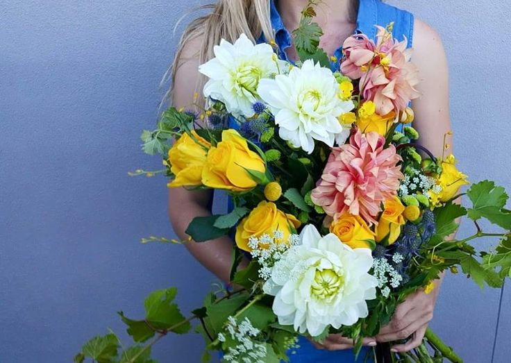Dahlias and Roses Wedding Bouquet
