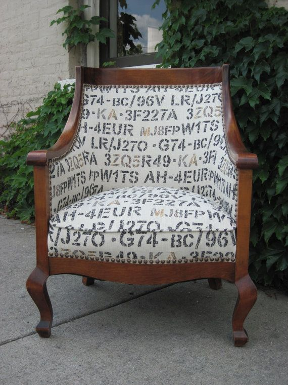 Reupholstered chair with European Licence Plates Tapestry- i would love to make a version of this for my boys' room.