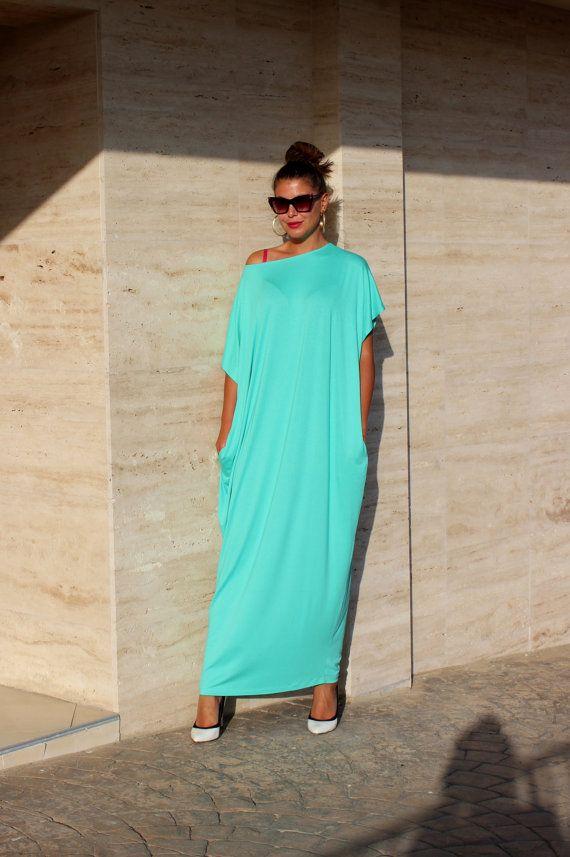Mint Maxi dress, caftan, Plus size clothing, Oversized dress, Plus size dress, Abaya, Kaftan, Spring Summer dress, Casual dress