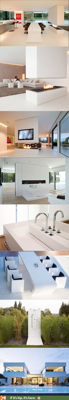 This modern home was completed using HI-MACS, an innovative acrylic mineral material, for most of the surfaces, the flooring, the furniture, walls, model making, facade, decking, outdoor shower and even the lining of the pool. 35 awesome photos at http://www.ifitshipitshere.com/bavarian-hi-macs-house/