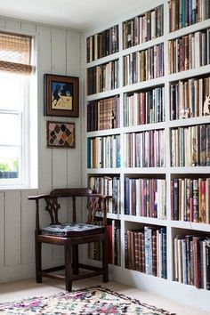 If you have a blank wall what better way to give it life than sturdy built-in bookshelves, like these in the home of gallerist Rebecca Hossack. Note the way that the size of the shelves subtly increases, so that small light books snugly fill the top, while the largest, heaviest tombs have ample room at the bottom.