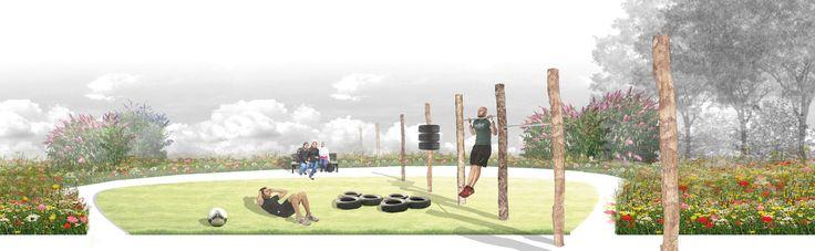 Aanzicht van publieke tuin voor fitness en relaxen in Malburgen-oost. Ontwerp 2014, Marian van de Hulsbeek, Maurice Wenker en Teddy Buningh