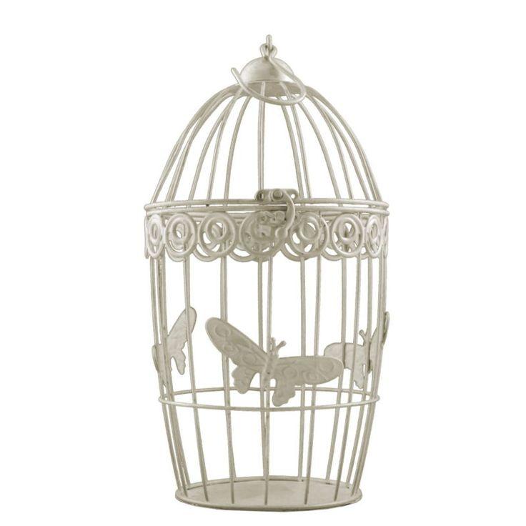 Deko Metall Vogel Käfig mit Schmetterling Shabby Look Antik Weiß in zwei Größen