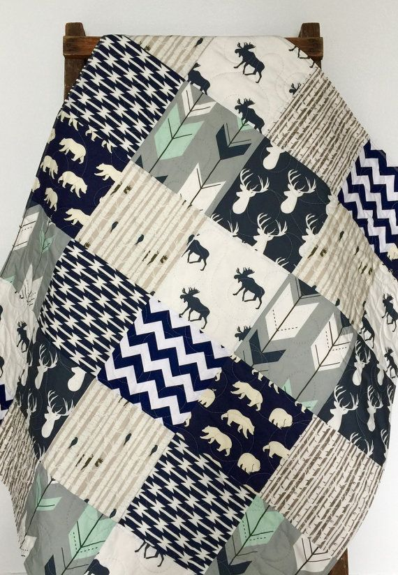 Baby Quilt, Boy, Moose, Bow and Arrow, Stag, Woodland,Birch Forest, Deer, Navy, Mint, Gray, Modern,Crib Bedding, Baby Bedding, Children