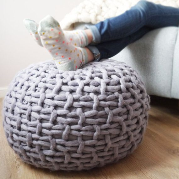 Superior Grey Knitted Pouf Ottoman Footstool Grey By LaurenAstonDesigns