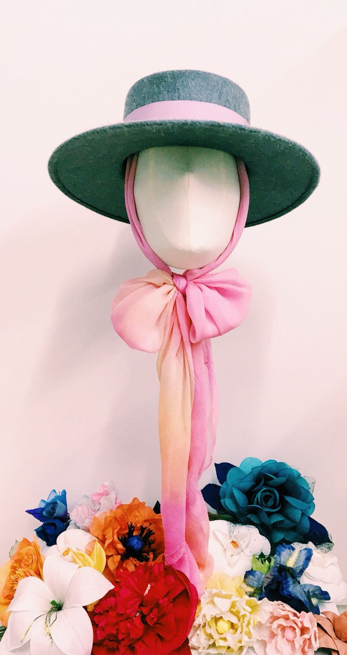 Cecile Millinery, grey rabbit fur hat with hand dyed silk . All flowers are handmade and hand dye in London