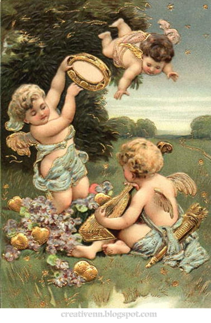 На крыльях вдохновения: Ангелы. Клипарты. Картинки для декупажа и других видов творчества.