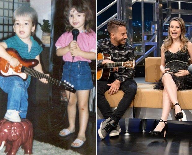 Os filhos de Noely: Sandy e Junior na infância e quando a cantora estava grávida de Theo (Foto: Divulgação / TV Globo)