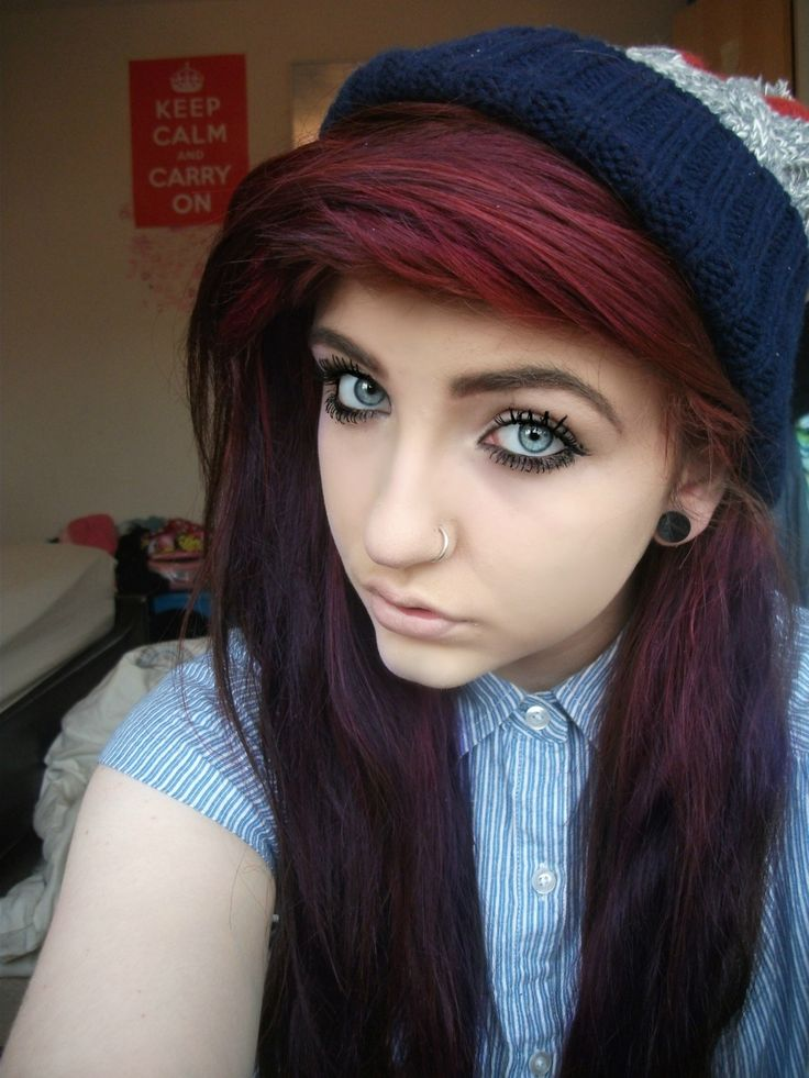 burgundy red hair.... exact color i want!!!!!!! And I really like how it fades:3  Maybe this summer....