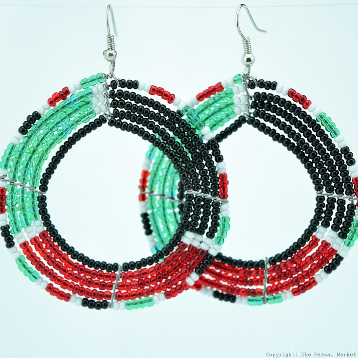 Round Maasai  Kenya Flag Earrings 690-6-107