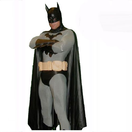 Black And Grey Lycra Spandex Batman Zentai Suit Superhero Fancy Dress Costumes