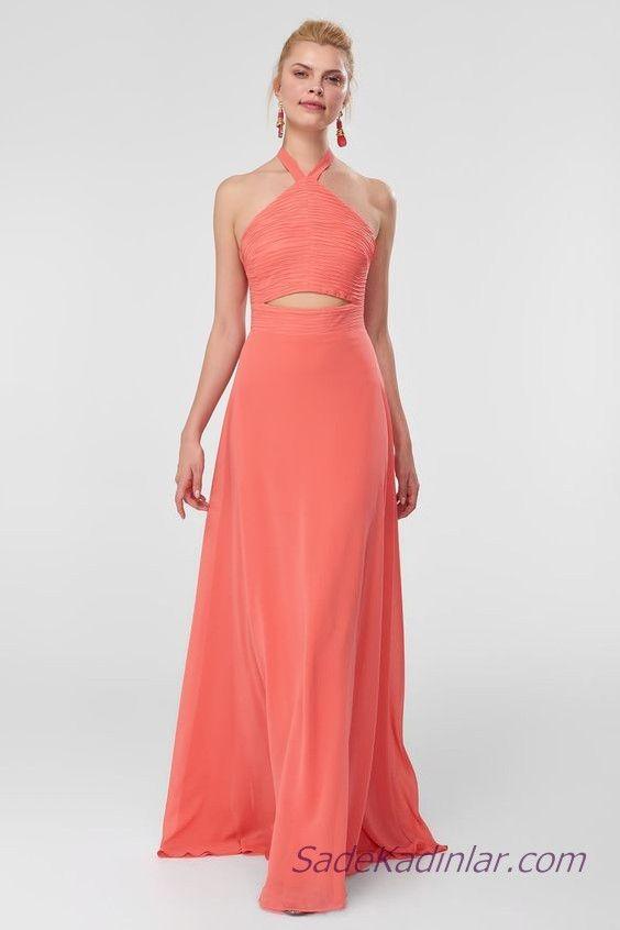 bc0c0c5a4340f 2019 Şifon Abiye Elbise Modelleri Somon Uzun Halter Yaka Göbek Dekolte Detay