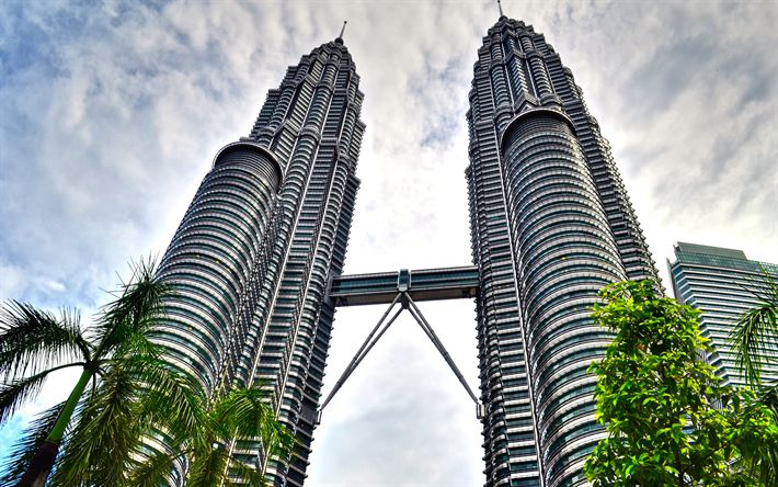 Descargar fondos de pantalla Torres Petronas, en Kuala Lumpur, Malasia, Moderno, arquitectura, rascacielos, torres de gran altura, torres gemelas, 4k