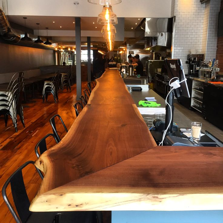 Check out this stunning live edge custom bar top for this commercial project  visit www.jeffmackdesigns.com  #wood #GTA #custom #bartop