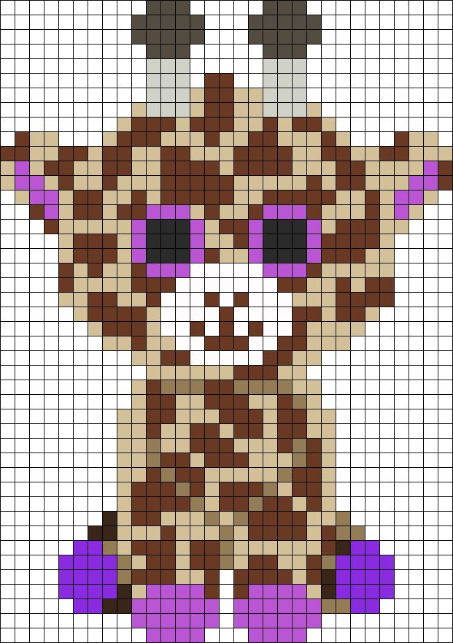 DIY this Superduper Cute Baby Giraffe Perler Hama Beads Pattern / Bead Sprite from Kandi Patterns. Also.....perfect for Cross Stitching!