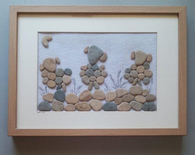 Arte piedra, regalo de inauguración de la casa, arte 3D, OOAK, playa piedra de arte, única decoración hogar, arte de pared enmarcada, regalo de cumpleaños, arte único
