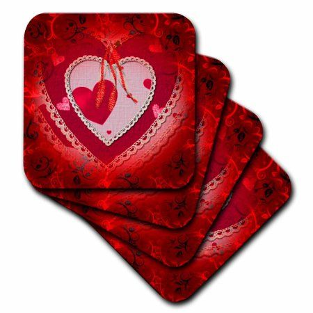 3dRose Pretty red gradient background and decorated paper heart and bows, Soft Coasters, set of 4
