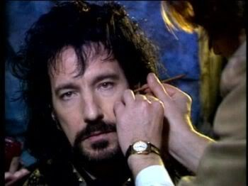 Alan Rickman getting into his Sheriff of Nottingham get-up for Robin Hood Prince of Thieves