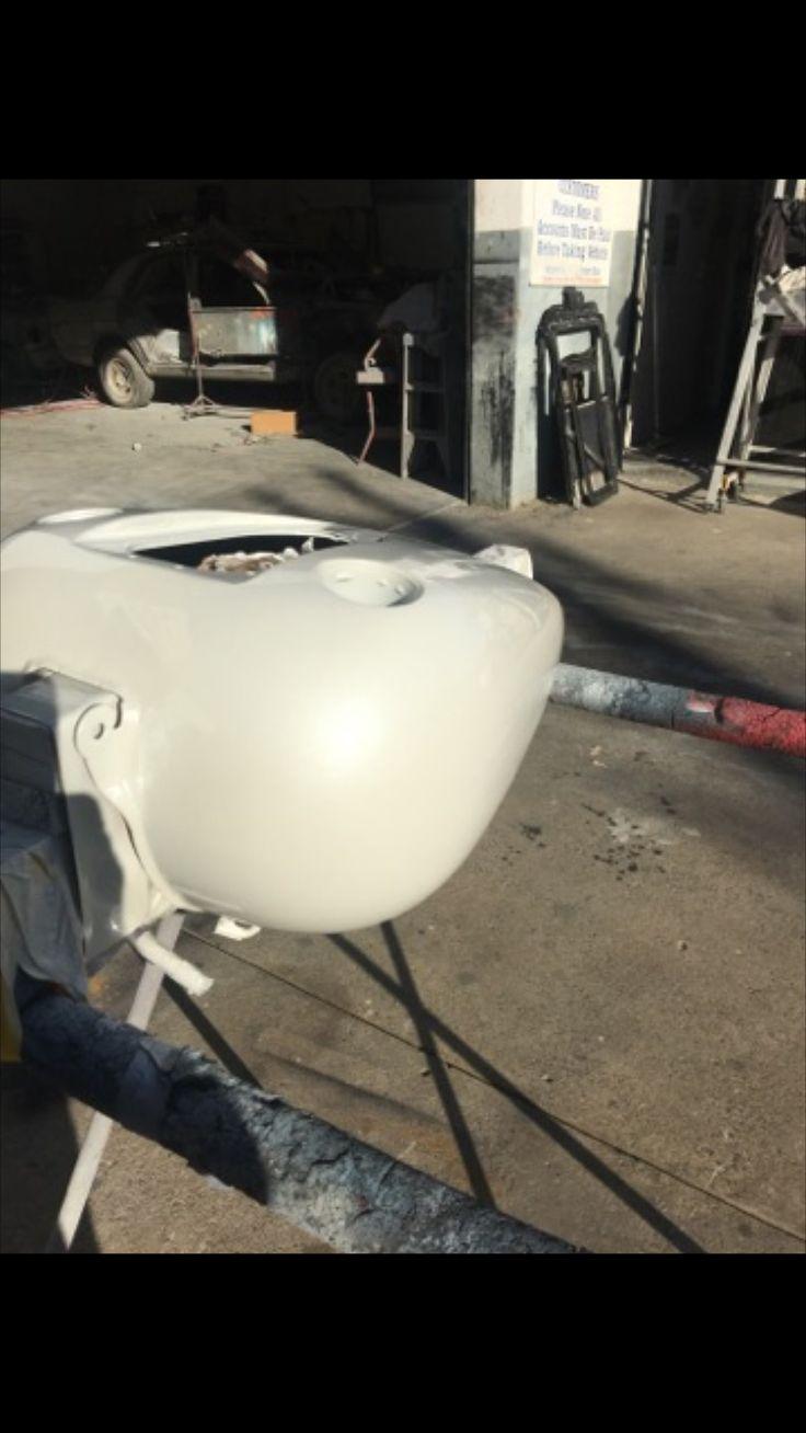 Freshly painted tank in Subaru Satin White Pearl. Paint Code 37J. Harley Davidson Street Bob Repairs Custom Build
