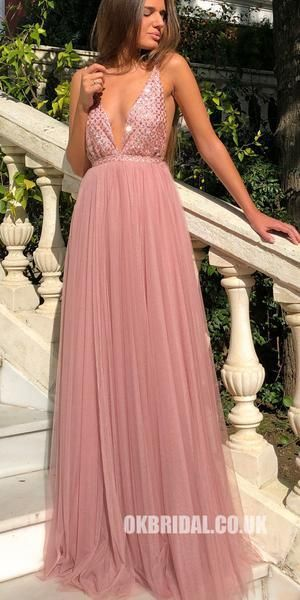 Sapghetti Straps Deep V-Neck A-Line Tulle Backless Sequin Prom Dresses,FC2308 #p…