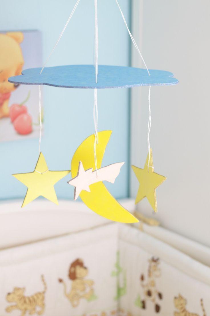 Basteln Fürs Baby Diy Mobile Wolke Mond Sterne Kinderzimmer