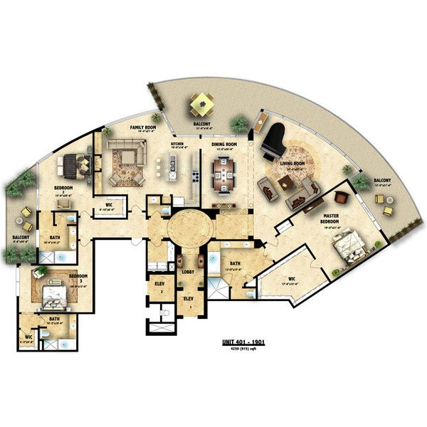 Colored floor plan architectural illustration ❤ liked on Polyvore