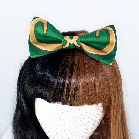 Loki Helmet Cosplay Avengers Costume Hair Bow Headband by douloux.