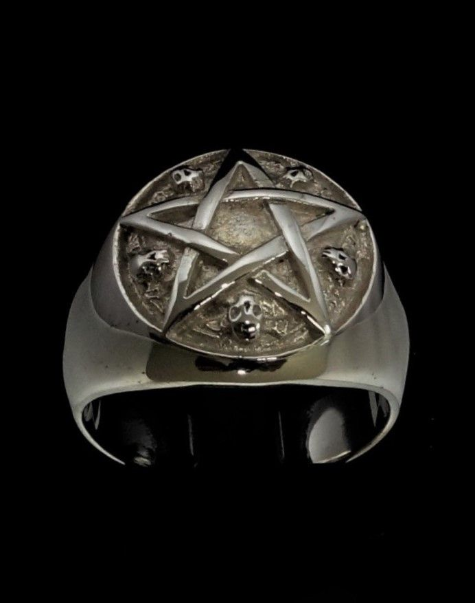 Sterling silver Occult symbol ring Leviathan cross Satan with black enamel high polished Sterling silver 925