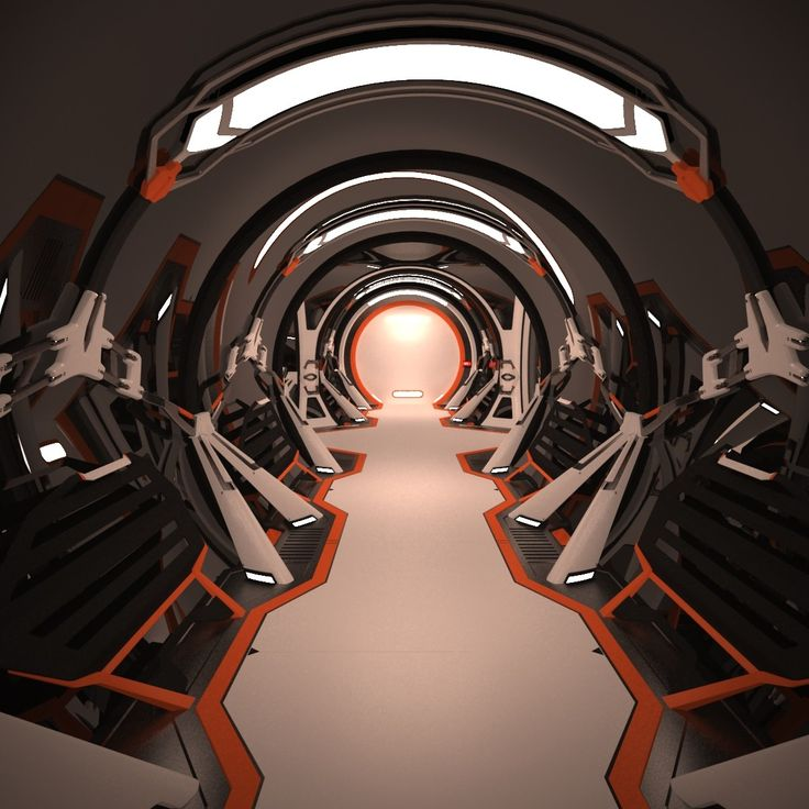 maya sci fi spaceship corridor interior