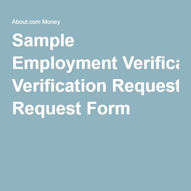 Sample Employment Verification Request Form